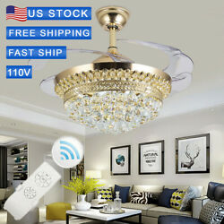 42quot;Crystal Chandelier Gold Remote Invisible Blade Ceiling Fan Light LED $136.99