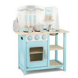 New Classic Toys Blue Wooden Pretend Play Toy Kitchen for Kids with Role Play... $140.22