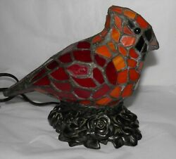 Stained Leaded Glass RED CARDINAL Bird Accent Lamp on Bronze Look Foliate Base $49.95