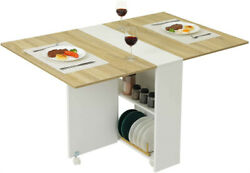 Folding Dining Table Versatile Dinner Table with 6 Wheels and 2 Storage Racks $102.99