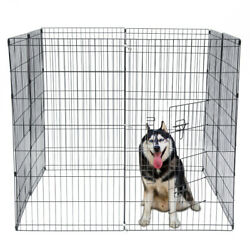 42quot; Foldable 8 Panel Metal Dog Fence Play Pen Pet Exercise Cage W Open Door $83.99
