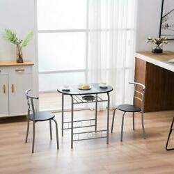 NEW 3 PCS Dining Table and 2 Chairs Set For Kitchen Dining Room Furniture Black $106.59