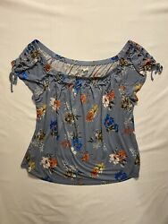 Maurice#x27;s Floral Top with Knots XXL Women#x27;s $20.00