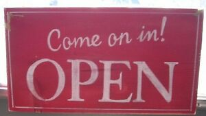Double Sided Come On In Open Closed Sign Hand Painted Wood Business Sign