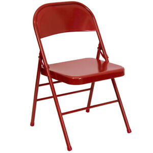 Lot Of 20 Heavy Duty Red Metal Folding Chairs