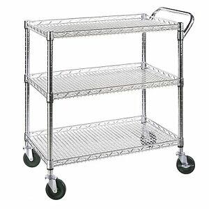 Seville Classics Chrome Plated 3 Shelf Commercial Utility Cart W Caster Wheels