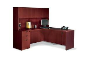 Reversible L Shape Office Furniture Desk With Hutch 4 Color Options Available
