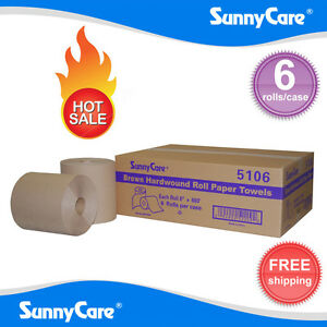 Sunnycare 5106 Hardwound Paper Roll Towels 8 X 800 brown 6 Rolls Per Case