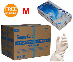 Sunnycare 1000 cs Latex Disposable Gloves Powdered non Vinyl Nitrile Exam M