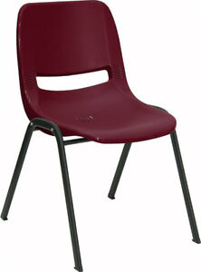 Lot Of 10 Burgundy Plastic Stack Classroom Chairs