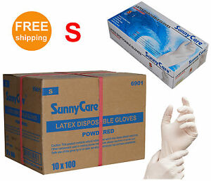 Sunnycare 1000 cs Latex Disposable Gloves Powdered vinyl Nitrile Exam Free S