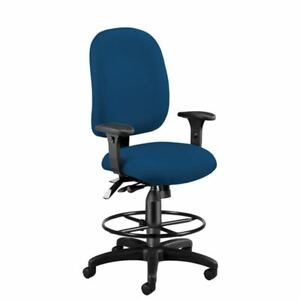 Navy Ergonomic Upholstered Drafting Office Chair