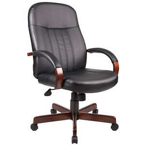Mahogany Finish Arms And Base Executive Conference Leather Office Chair