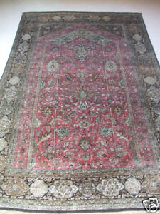Original Antique Beautiful Qom Persian Area Rugs Silk