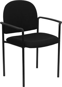 Lot Of 10 Black Fabric Stack Guest Chairs With Arms
