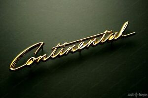 1958 Lincoln Continental Grille Script Nameplate In 24k Gold New Bak 6550400 a
