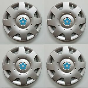 New 1998 2009 Vw Beetle 16 Blue Daisy Flower Hubcaps Wheelcovers Set Of 4