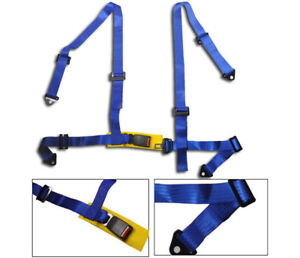 Blue 4 Point Buckle Racing Seat Belts Harness Universal New