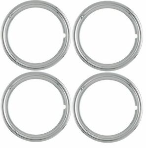 16 Inch New Plastic Chrome Beauty Rings Standard 2 Trim Ring Set Measures 1 75