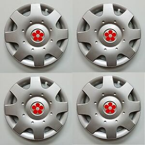 1998 2009 Vw Beetle 16 Red Daisy Flower Hubcaps Wheelcover Set Of 4