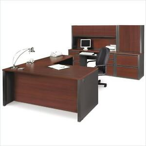 Prestige Reversible L shape Office Desk Set In Bordeaux