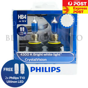 free T10 Parkers Philips Hb4 9006 Crystal Vision 4300k White Halogen Bulbs