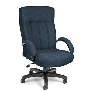 High Back Big And Tall Blue Fabric Executive Office Chair 400 Lbs Capacity