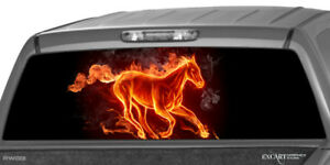 Flaming Horse Rear Window Graphic Decal Wrap Print Truck Suv Sticker Ute Flames