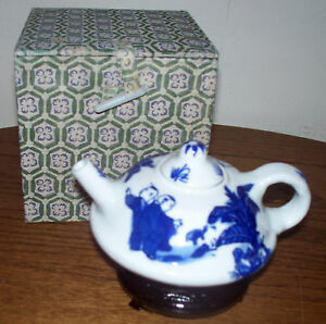 Mini Chinese Teapot W Stand Blue White Boxed