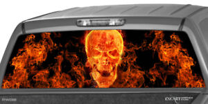 Flaming Skull Rear Window Graphic Decal Print Truck Suv Decal Tint Sticker Truck