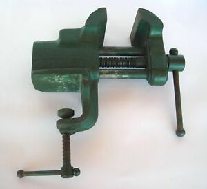 Vtg 8 Lb Pound Green Workbench Vise 3 Jaw Blacksmith Hobby Tool