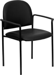 Black Vinyl Stack Office Guest Chair With Arms