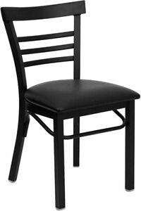 Lot Of 20 Metal Restaurant Chairs Deluxe Ladder Back With Black Vinyl Seat