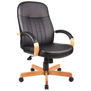 Oak Finish Arms And Base Executive Conference Leather Office Chair