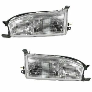 Headlights Headlamps Left Right Pair Set New For 92 94 Toyota Camry