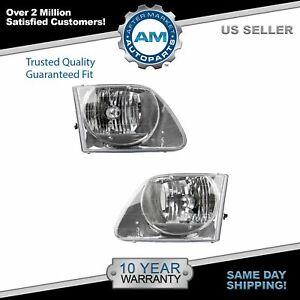 Headlights Headlamps Left Right Pair Set For 01 03 Ford F150 Lightning Truck