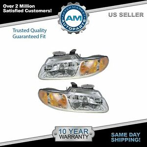 Headlights Headlamps Left Right Pair Set For 96 99 Dodge Grand Caravan Voyager