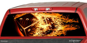 Flaming Dices Burning Rear Window Graphic Decal Sticker Truck Suv Cap Silverado