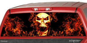 Burning Skull Flaming Flame Rear Window Graphic Decal Truck Suv Cap Camper Shell