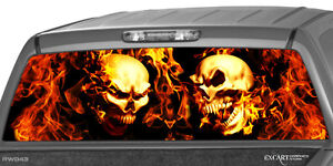 Burning Skulls Flaming Flame Rear Window Graphic Decal Truck Suv Cap Shell Dodge