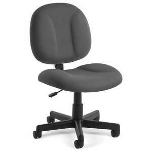 Gray Armless Fabric Highly Comfortable Task Office Desk Chair
