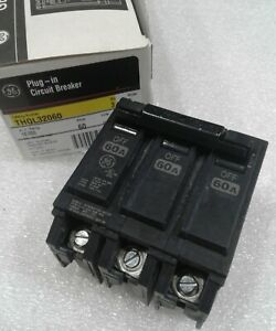 Ge General Electric Thql32060 New Circuit Breaker 3 Pole 60 Amp 240 Vac