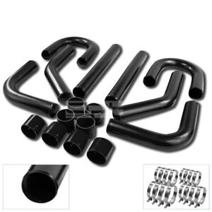2 5 black Coated Turbo Charger Intercooler Piping u Pipes t clamps silicone Hose