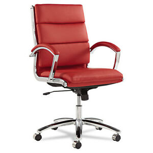 Red Leather Computer Office Desk Chair With Padded Arms