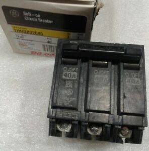 Thhqb32040 General Electric Circuit Breaker 3 Pole 40 Amp 240 Vac New