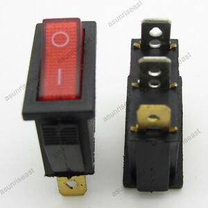 2 Red 3 Pin Spst On off Light Illuminated Rocker Boat Switch 2 Posistion