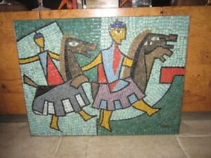Fantastic Mid Century Modern Cubist Mosiac 2 Knights On Horses Danish 60 S 70 S