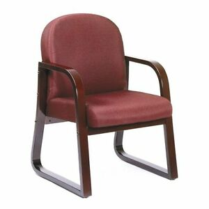 Lot Of 4 Mahogany Frame Side Guest Office Chairs With Burgundy Upholstery
