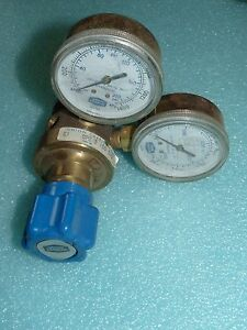 Linde Union Carbide Upe 3 150 540 Brass Regulator With 2 Gauges