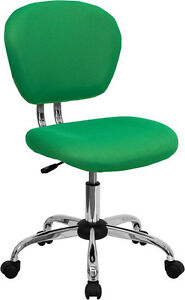 Armless Mid Back Office Desk Chair Bright Green Mesh Upholstery Chrome Accents